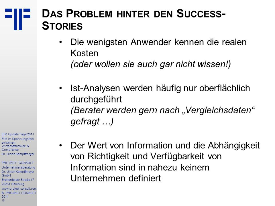 Das Problem hinter den Success-Stories