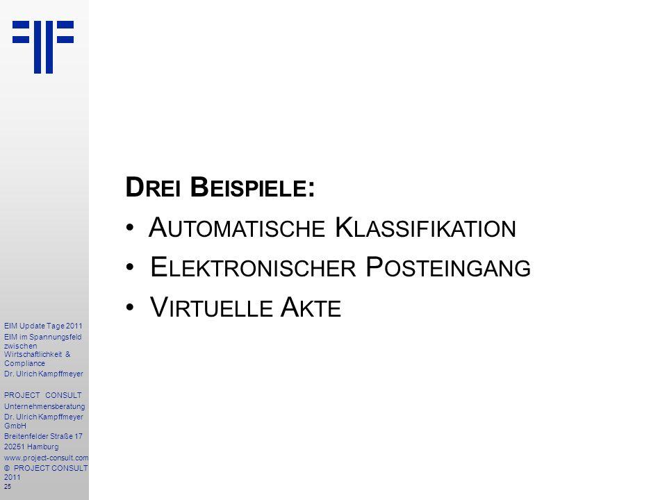 Drei Beispiele: Automatische Klassifikation Elektronischer Posteingang Virtuelle Akte