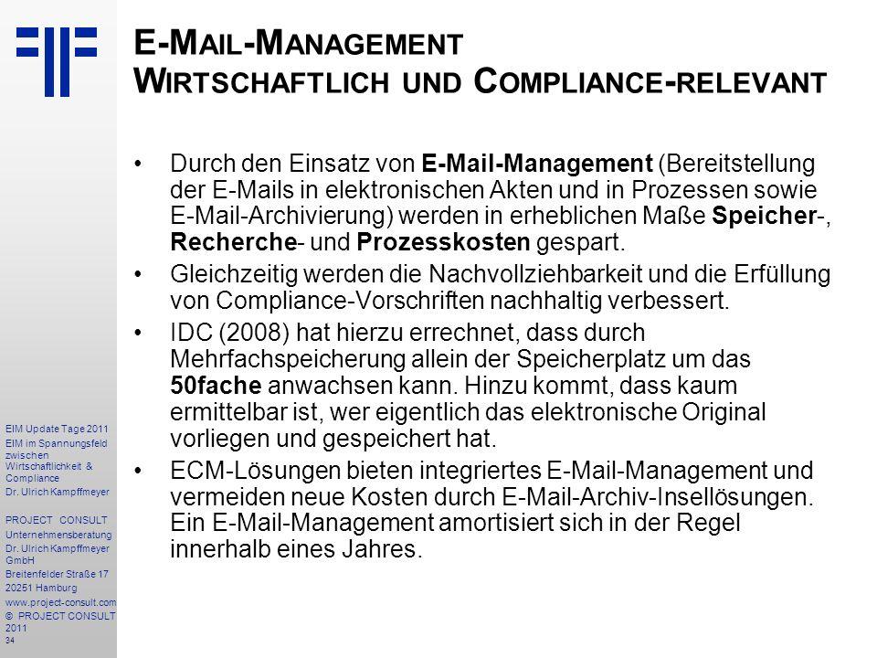 E-Mail-Management Wirtschaftlich und Compliance-relevant