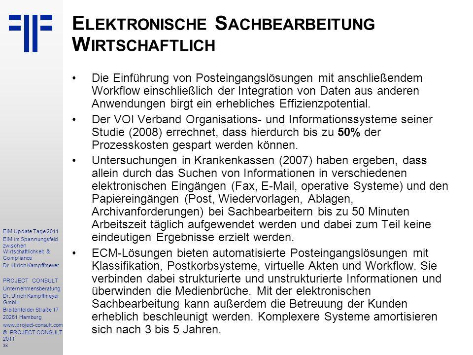 Elektronische Sachbearbeitung Wirtschaftlich