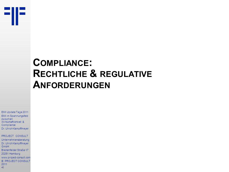 Compliance: Rechtliche & regulative Anforderungen