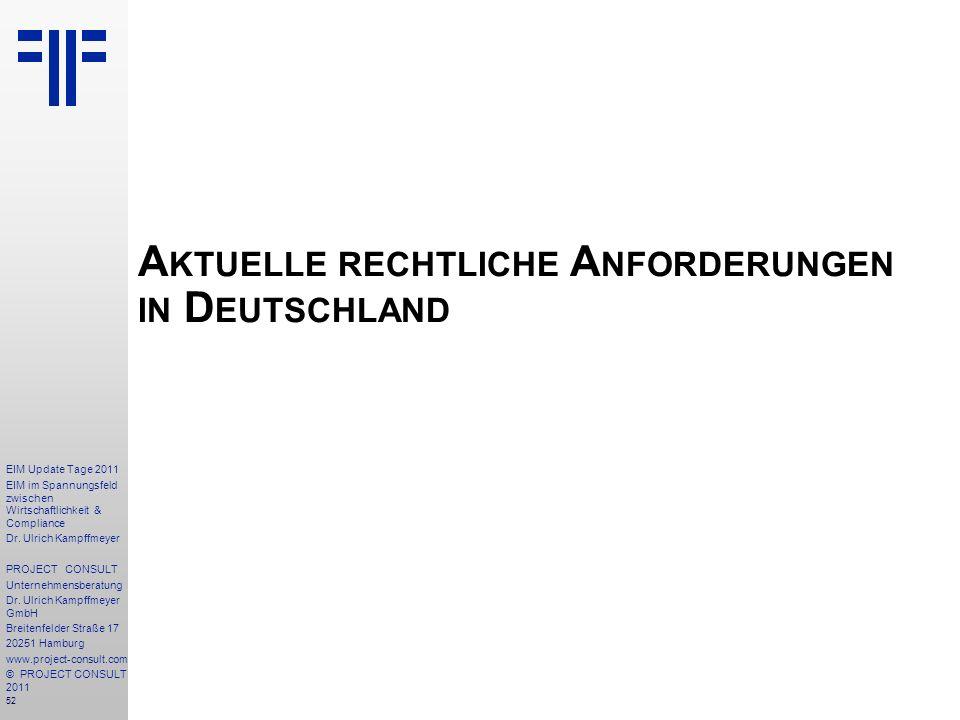 Aktuelle rechtliche Anforderungen in Deutschland