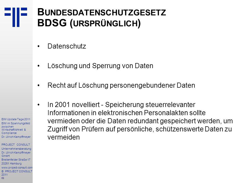 Bundesdatenschutzgesetz BDSG (ursprünglich)