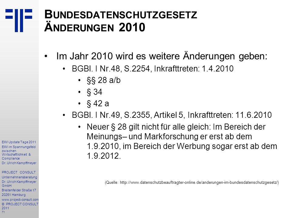 Bundesdatenschutzgesetz Änderungen 2010