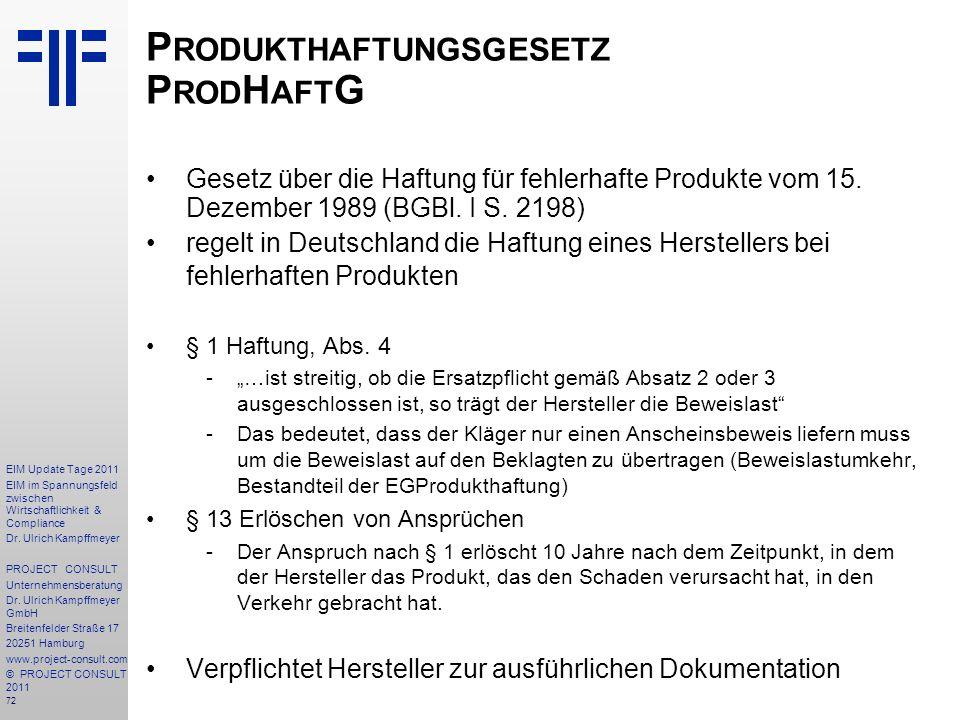 Produkthaftungsgesetz ProdHaftG