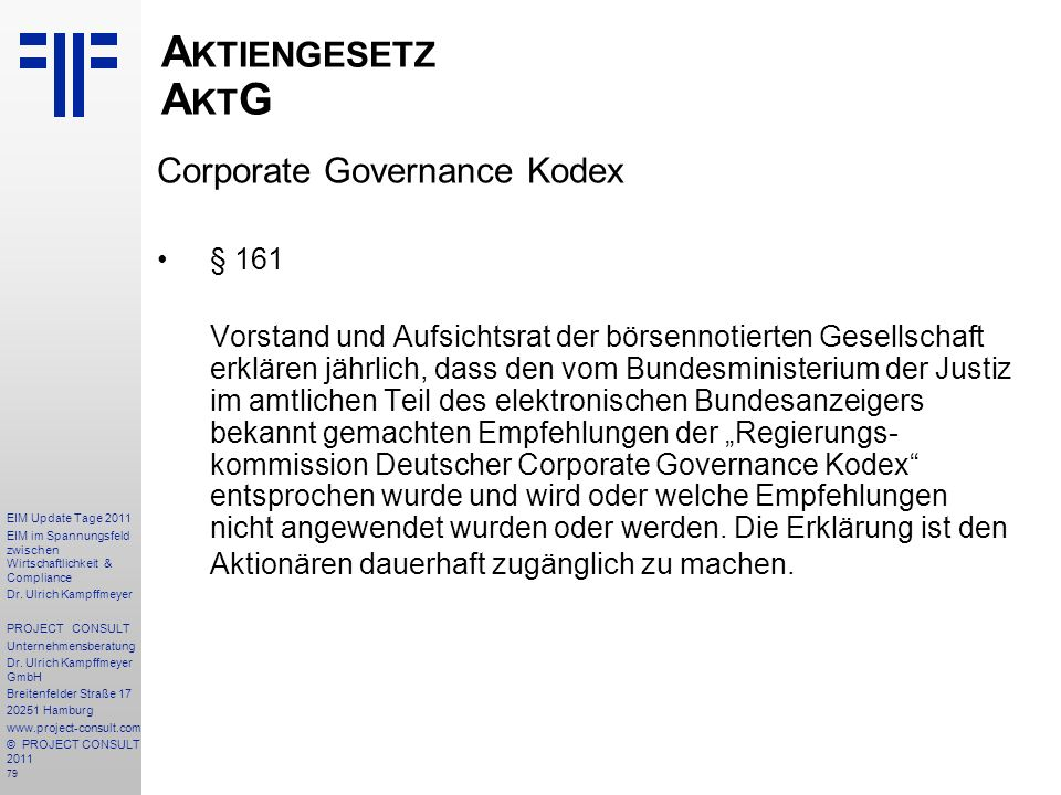Aktiengesetz AktG Corporate Governance Kodex § 161