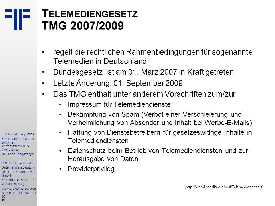 Telemediengesetz TMG 2007/2009