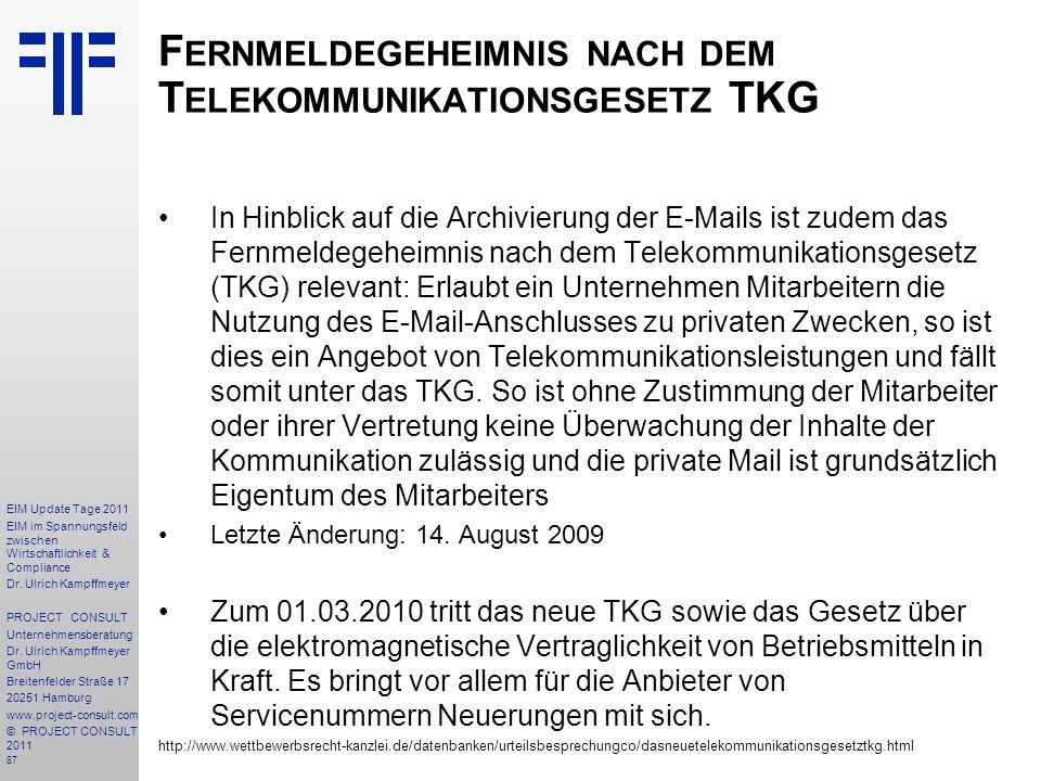 Fernmeldegeheimnis nach dem Telekommunikationsgesetz TKG