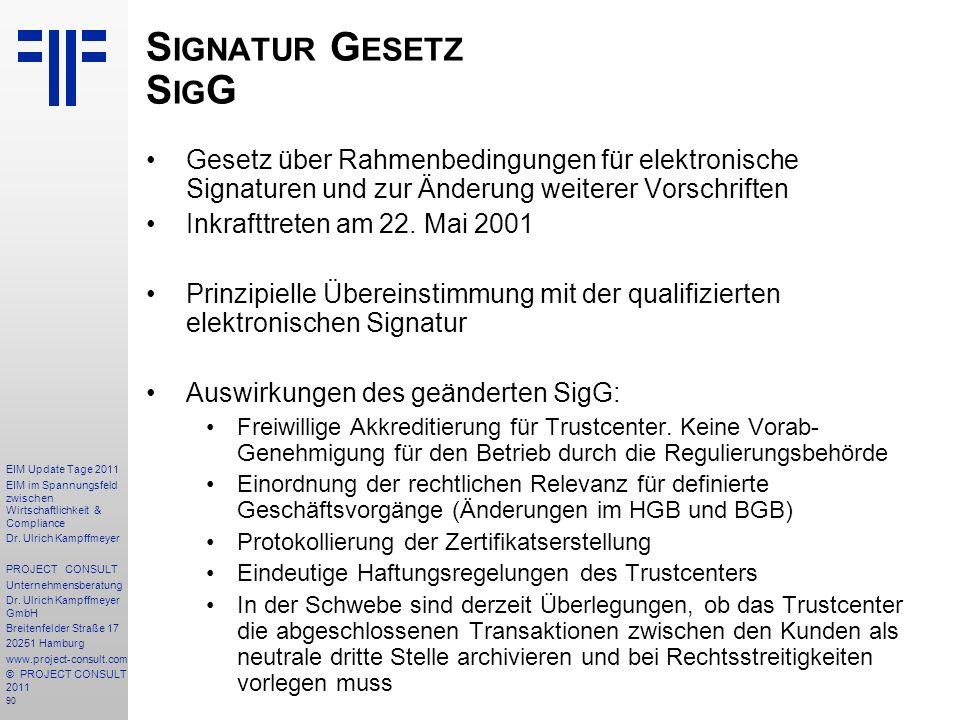 Signatur Gesetz SigG Gesetz über Rahmenbedingungen für elektronische Signaturen und zur Änderung weiterer Vorschriften.
