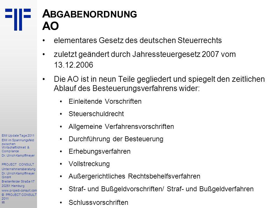 Abgabenordnung AO elementares Gesetz des deutschen Steuerrechts