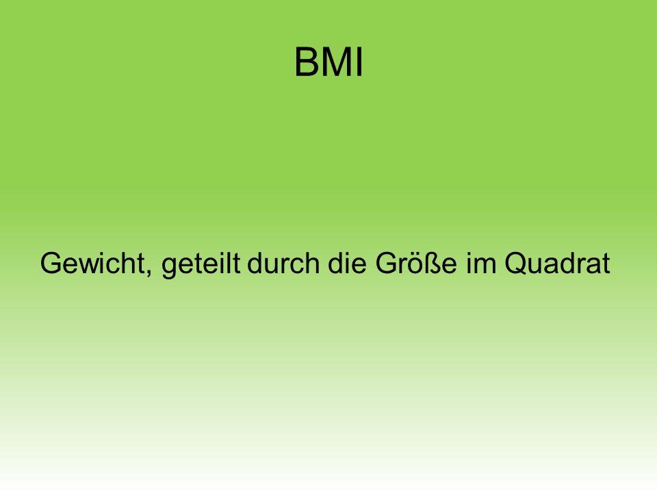 BMI Gewicht, geteilt durch die Größe im Quadrat