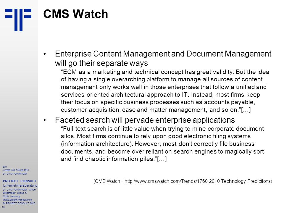 CMS Watch Enterprise Content Management and Document Management will go their separate ways.