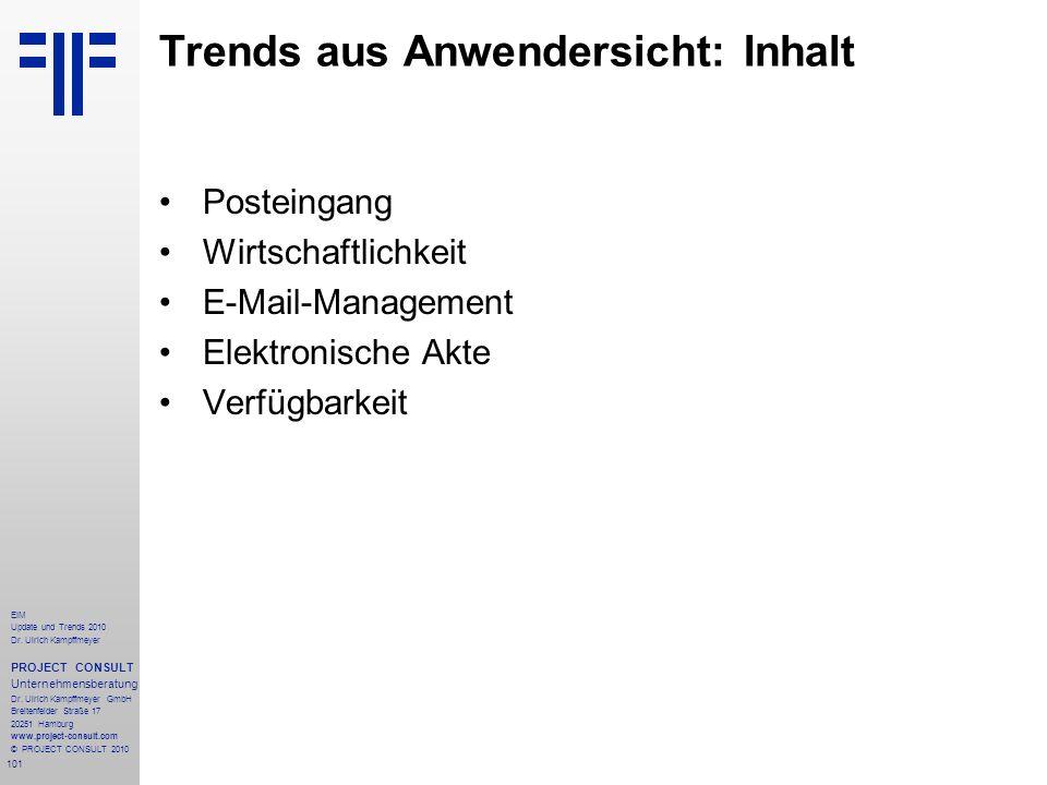 Trends aus Anwendersicht: Inhalt