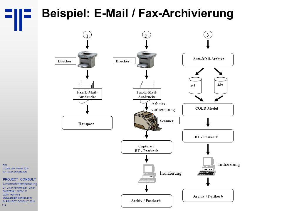 Beispiel: E-Mail / Fax-Archivierung