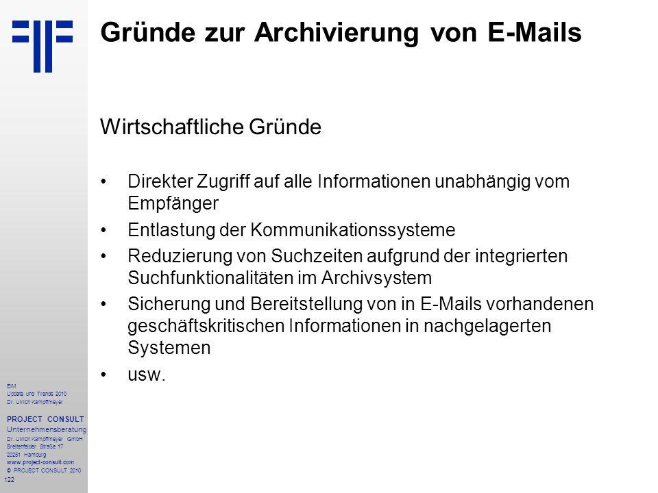 Gründe zur Archivierung von E-Mails