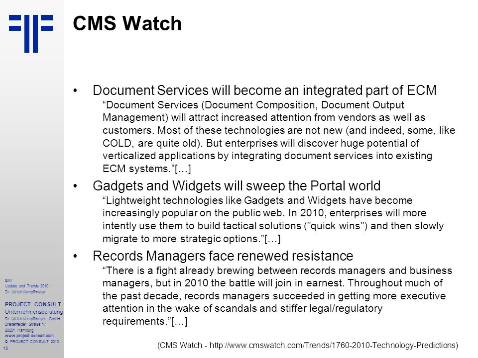 CMS Watch Document Services will become an integrated part of ECM