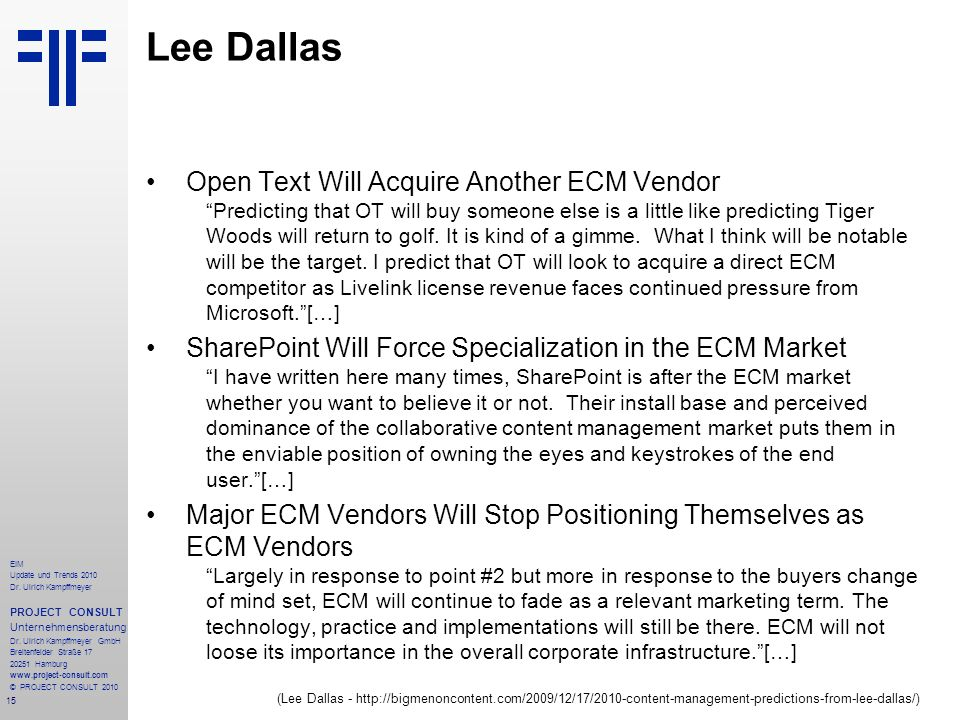 Lee Dallas Open Text Will Acquire Another ECM Vendor
