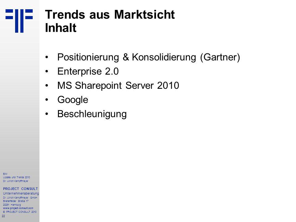 Trends aus Marktsicht Inhalt