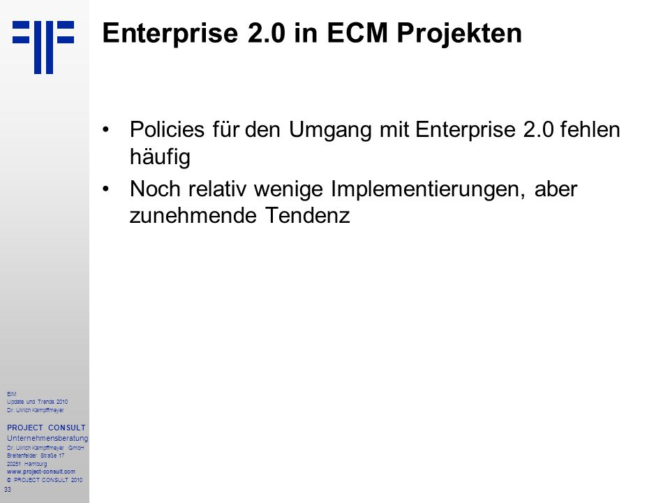Enterprise 2.0 in ECM Projekten