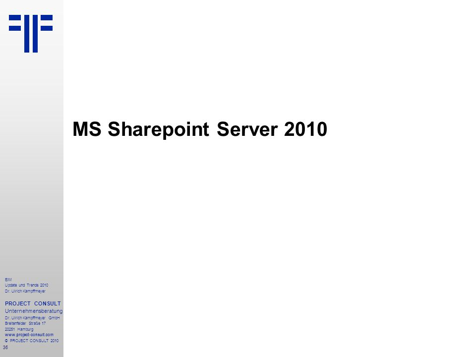 MS Sharepoint Server 2010