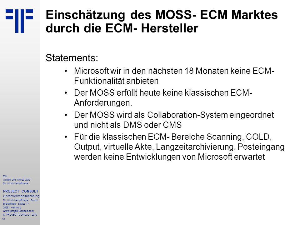 Einschätzung des MOSS- ECM Marktes durch die ECM- Hersteller