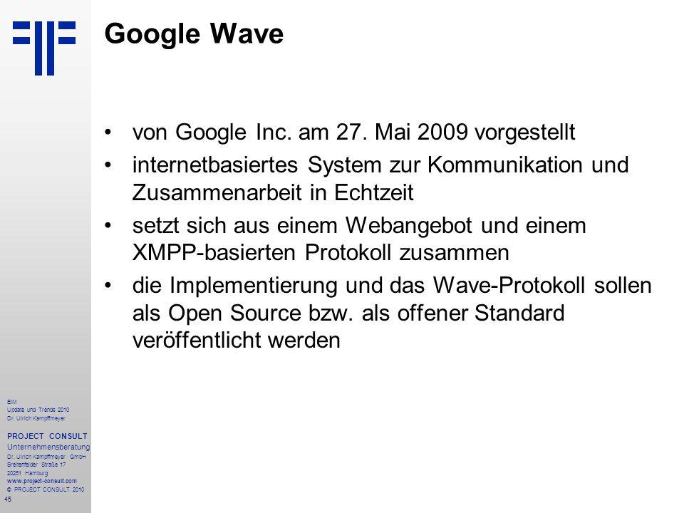 Google Wave von Google Inc. am 27. Mai 2009 vorgestellt