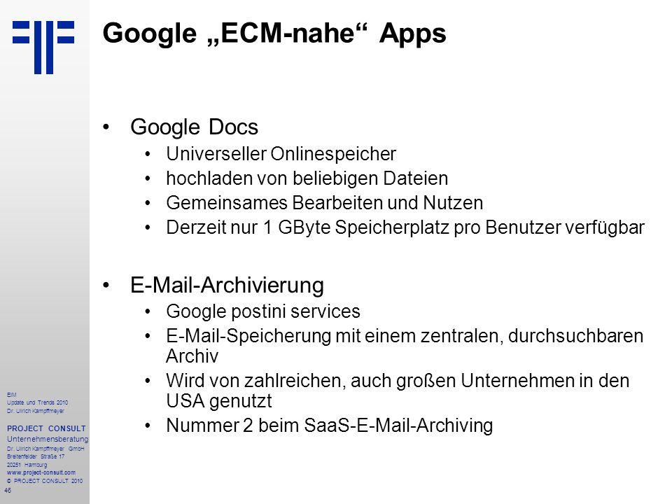 """Google """"ECM-nahe Apps"""