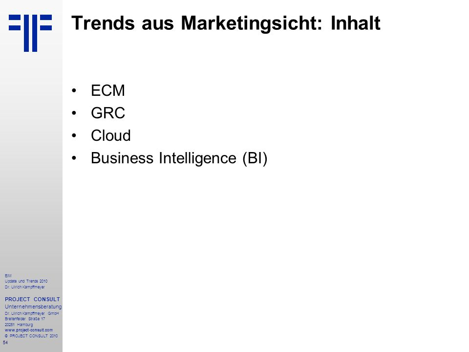 Trends aus Marketingsicht: Inhalt