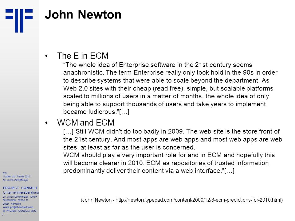John Newton The E in ECM WCM and ECM