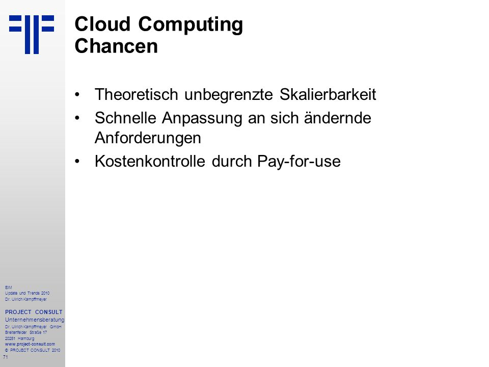 Cloud Computing Chancen
