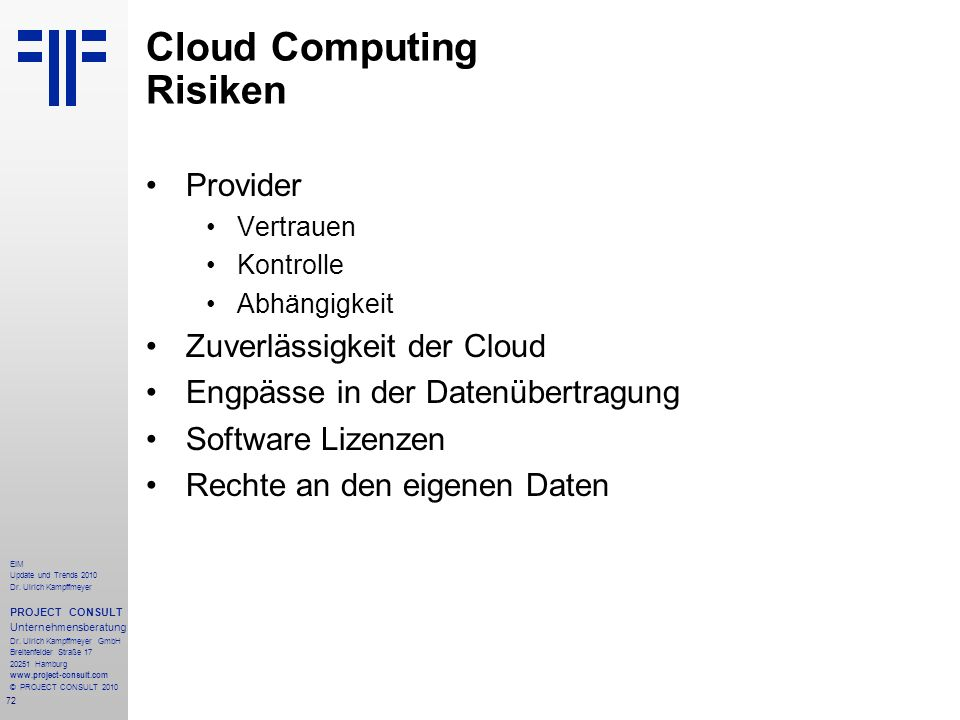 Cloud Computing Risiken