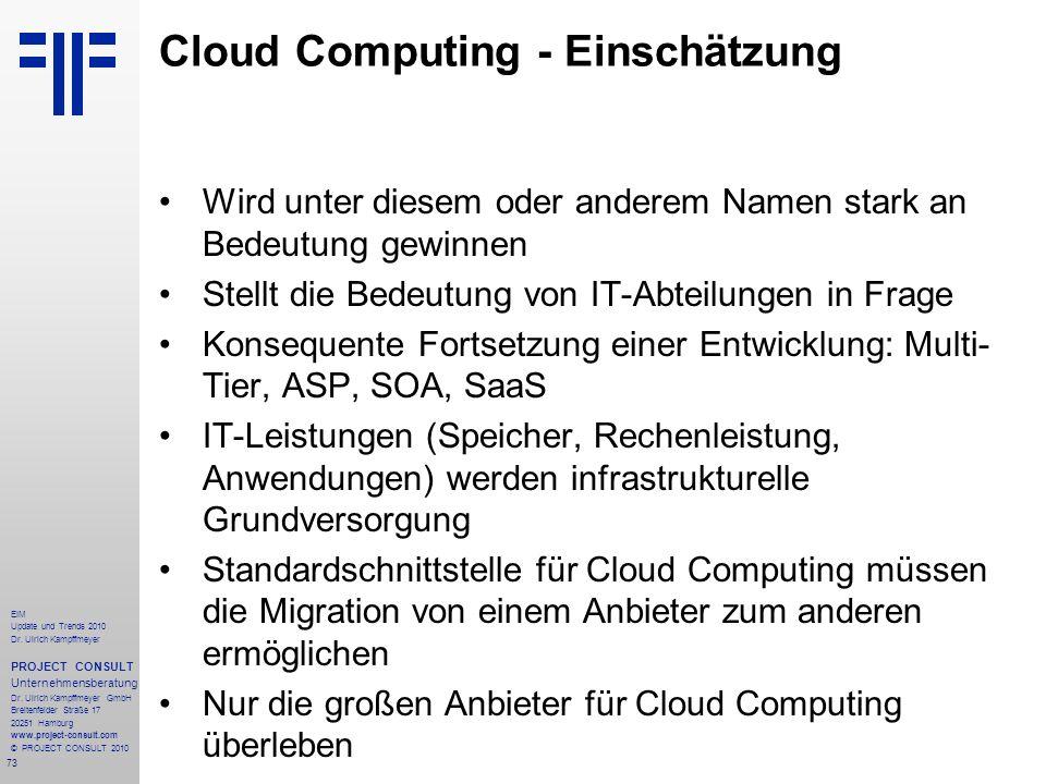 Cloud Computing - Einschätzung