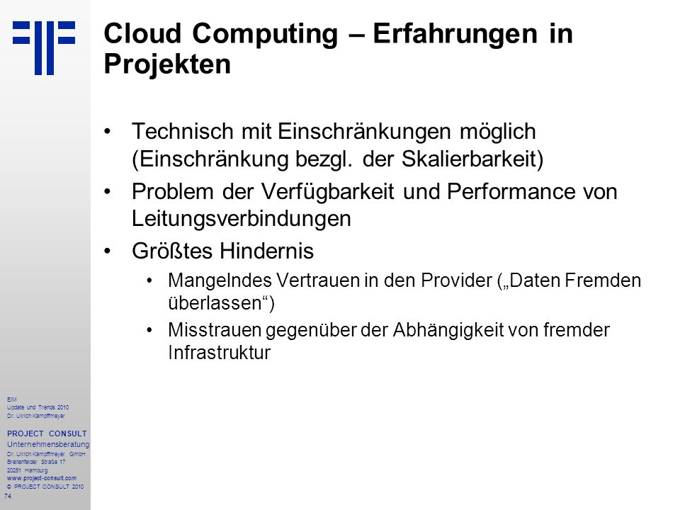 Cloud Computing – Erfahrungen in Projekten