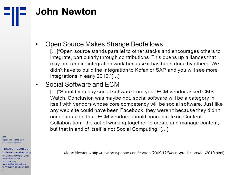 John Newton Open Source Makes Strange Bedfellows