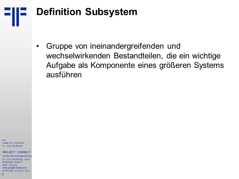 Definition Subsystem