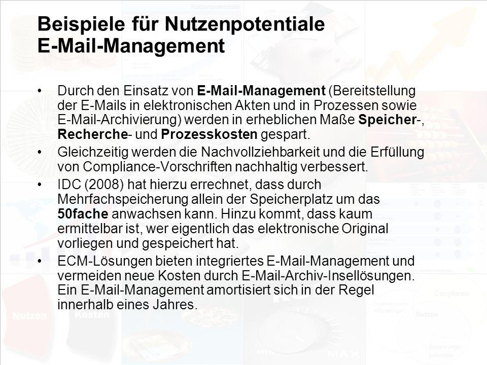 Beispiele für Nutzenpotentiale E-Mail-Management