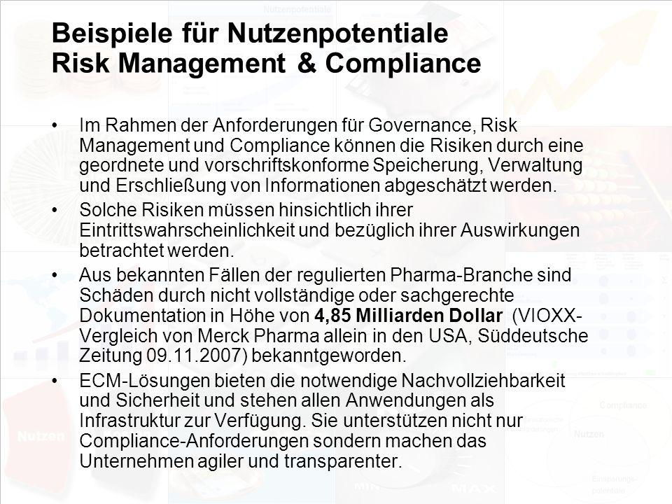 Beispiele für Nutzenpotentiale Risk Management & Compliance