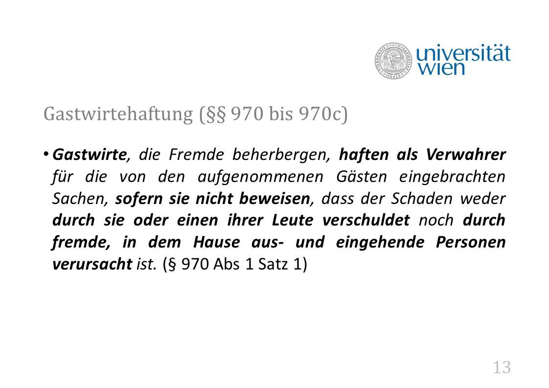 Gastwirtehaftung (§§ 970 bis 970c)