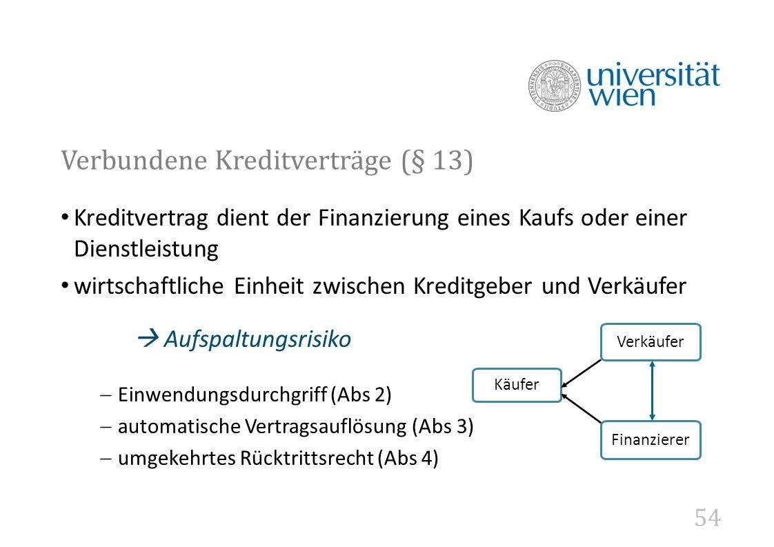 Verbundene Kreditverträge (§ 13)