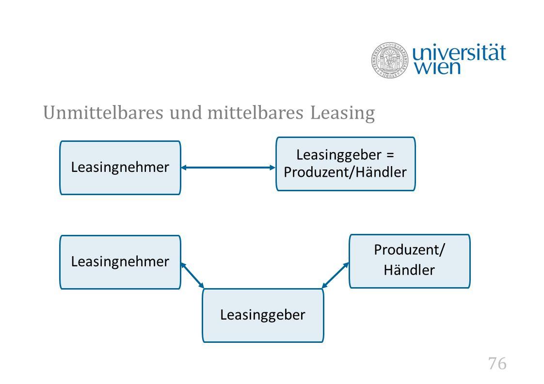 Unmittelbares und mittelbares Leasing