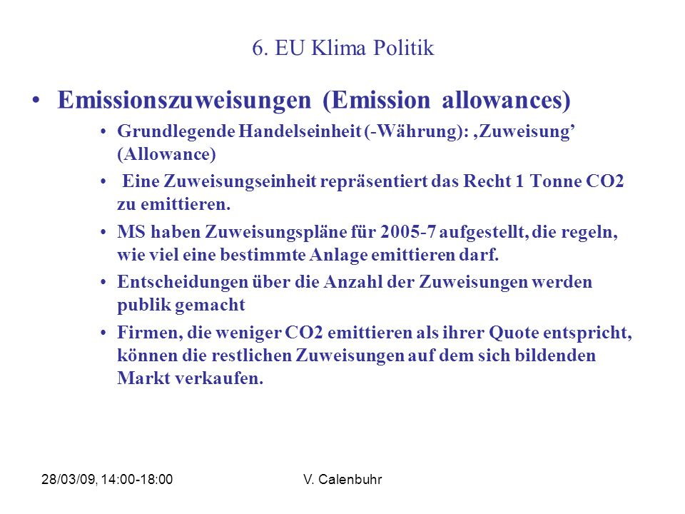 Emissionszuweisungen (Emission allowances)