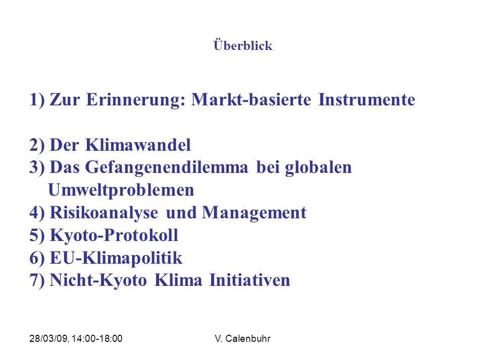 1) Zur Erinnerung: Markt-basierte Instrumente 2) Der Klimawandel