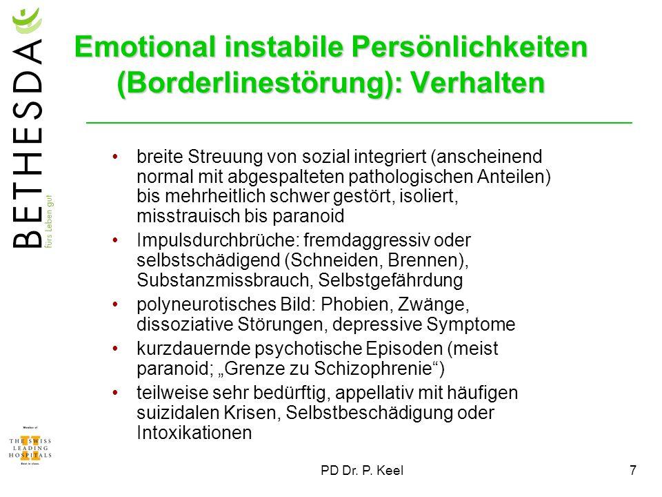 Emotional instabile Persönlichkeiten (Borderlinestörung): Verhalten