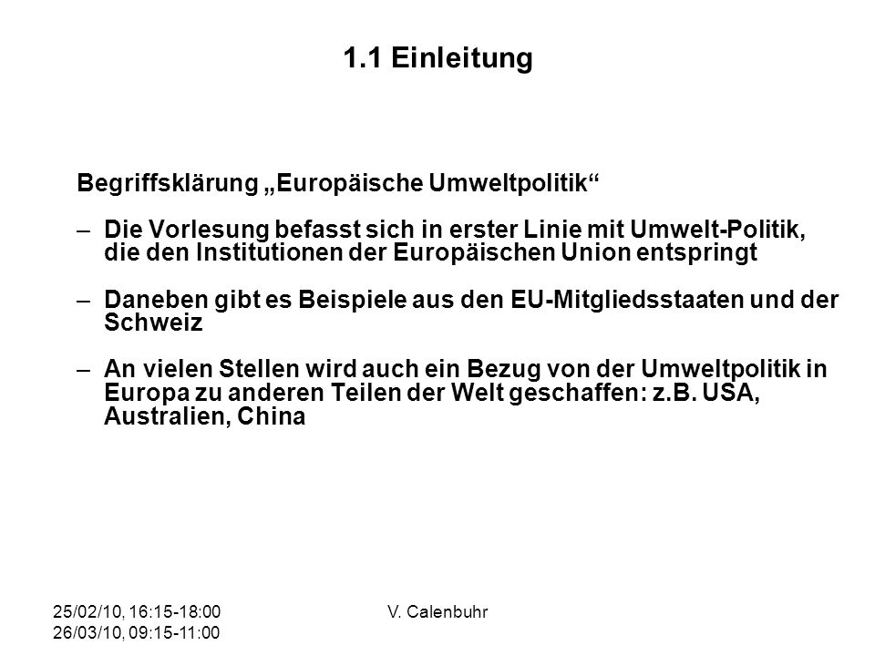 """1.1 Einleitung Begriffsklärung """"Europäische Umweltpolitik"""