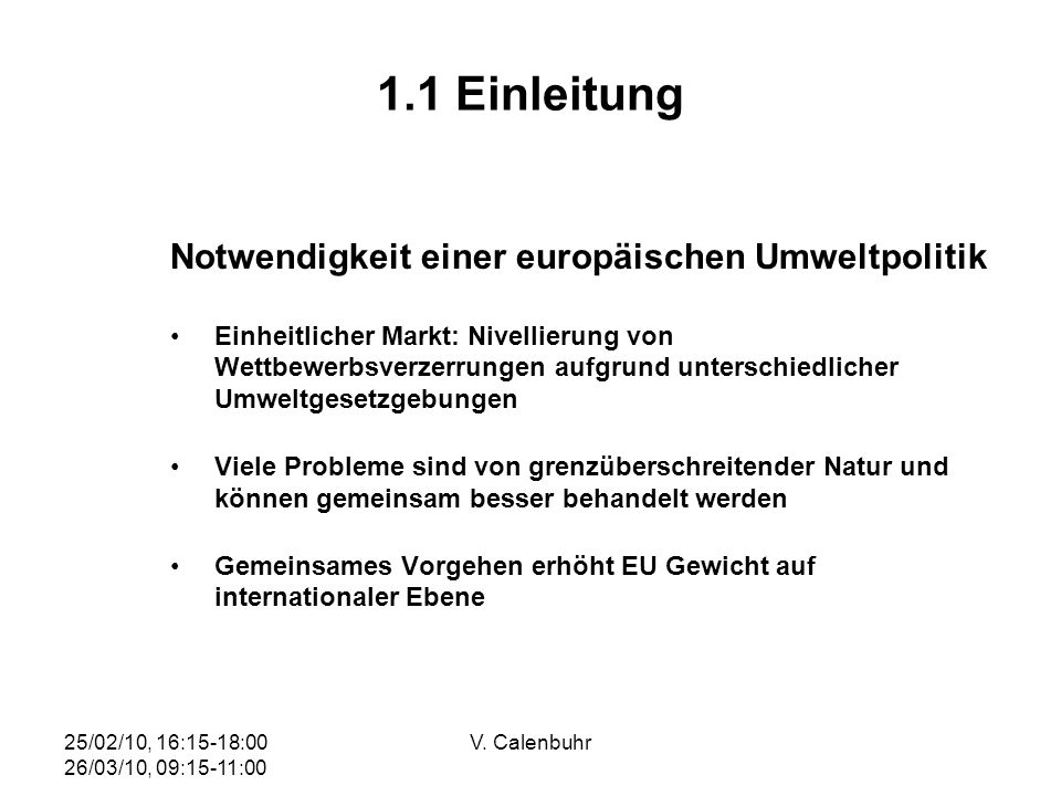 1.1 Einleitung Notwendigkeit einer europäischen Umweltpolitik