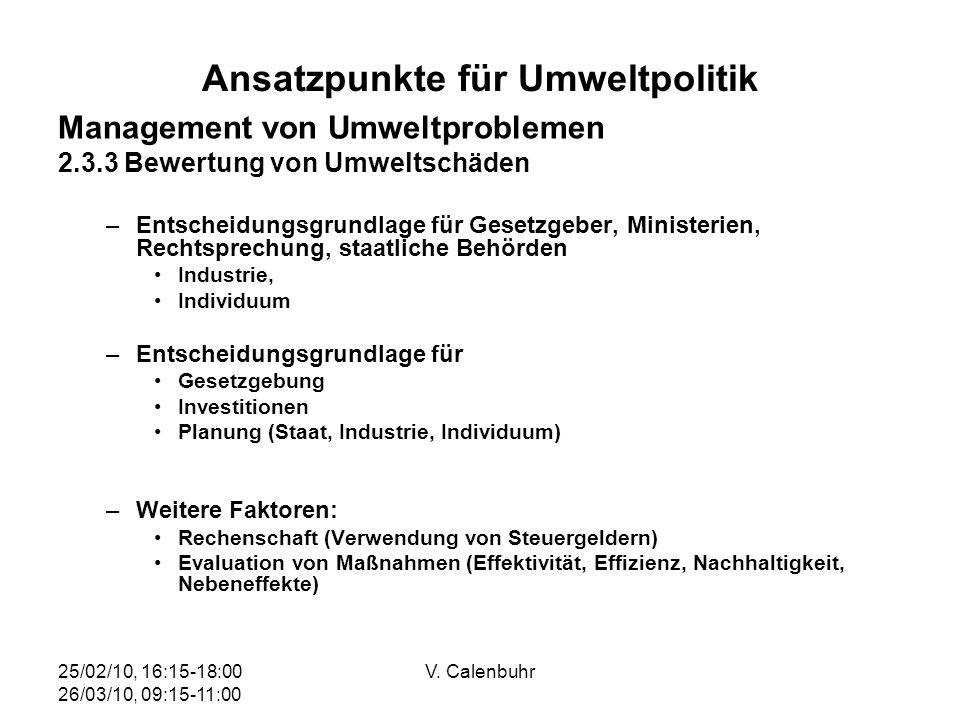 Ansatzpunkte für Umweltpolitik