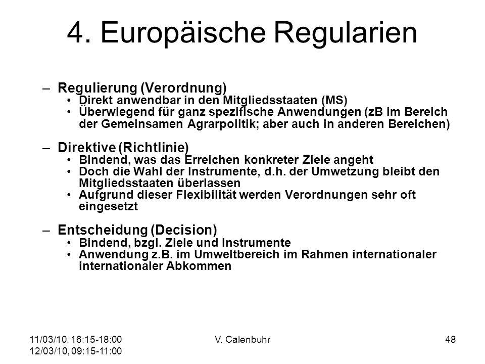 4. Europäische Regularien
