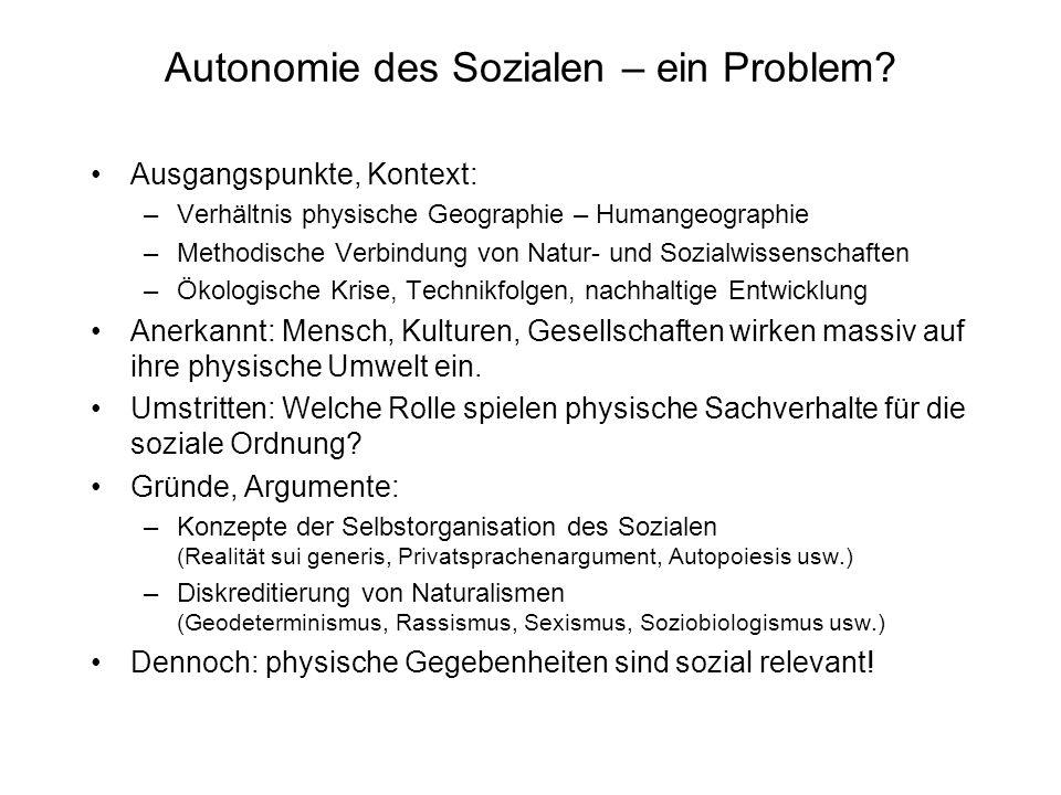 Autonomie des Sozialen – ein Problem