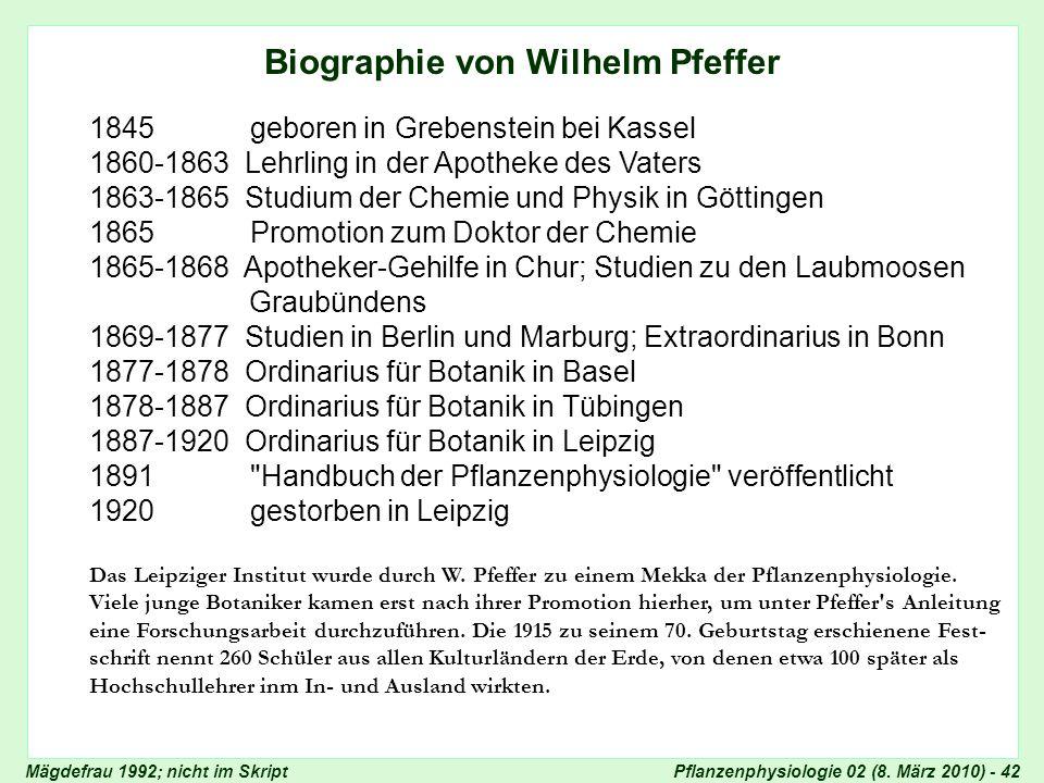 Biographie von Wilhelm Pfeffer