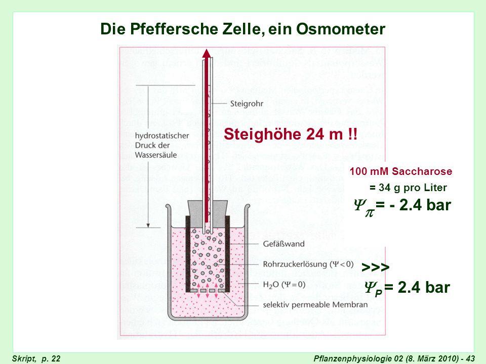 Die Pfeffersche Zelle, ein Osmometer